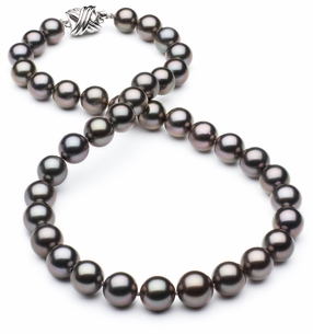 8 x 10.4mm TRUE AAA Dark Grey Black Tahitian Pearl Aubergine Overtone Necklace