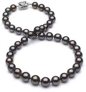 8 x 9.8mm TRUE AAA Black Tahitian Pearl Aubergine Overtone Necklace