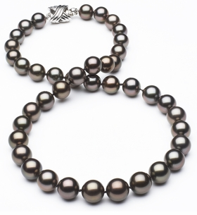 8 x 9.9mm True AAA Black Tahitian Pearl Slight Copper Overtone  Necklace