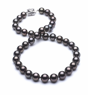 9 x 9.9mm True AAA Black Tahitian Pearl Slight Rose Overtone Necklace
