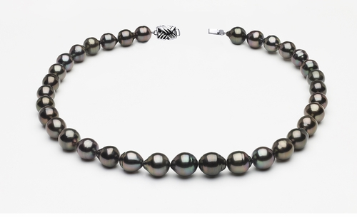 9 x 11mm Tahitian Pearl Dark Black Baroque Necklace | Serial Number s8-clabc-dark-color-b61