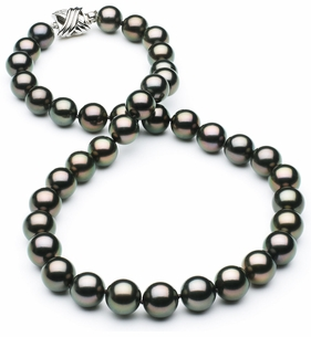 9 x 9.9mm TRUE AAA Black Tahitian Pearl Peacock Overtone Necklace