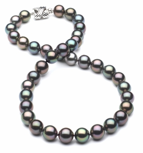 9.1 x 9.5mm True AAA Black Tahitian Multicolor Pearl Necklace