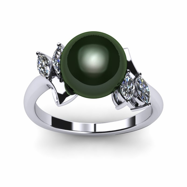 Bamboo Princess a Black Tahitian Cultured Pearl Ring