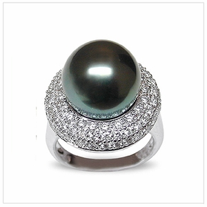 Bernette a Black Tahitian South Sea Cultured Pearl Ring