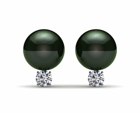 American Style Tahitian Pearl & Diamond Earrings | Various Sizes from 8mm to 15mm