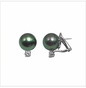 Black Cultured Tahitian Pearl and Diamond Earrings