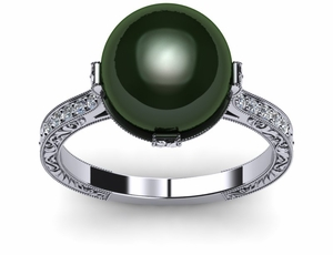 pearl-ring-tahitian-diamond-black-south-sea-cultured-pearl-antique-style