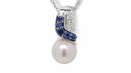 Blue Fin a Japanese Akoya Cultured Pearl Pendant