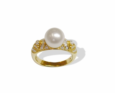 Byzantine a Japanese Akoya Cultured Pearl Ring