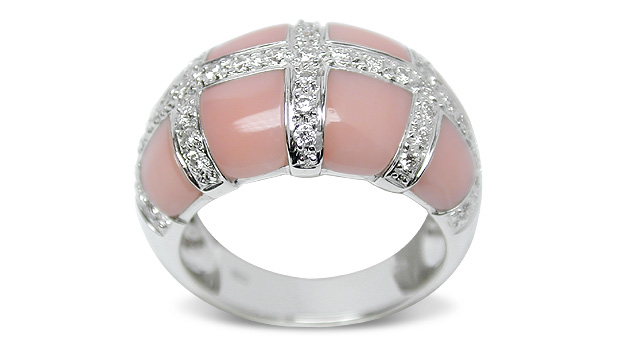 Cassendra a Pink Coral and Diamond Ring