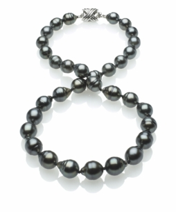 Dark Black Tahitian Baroque Pearl Necklace 8mm x 10mm TRUE AAA Quality - 16 Inches
