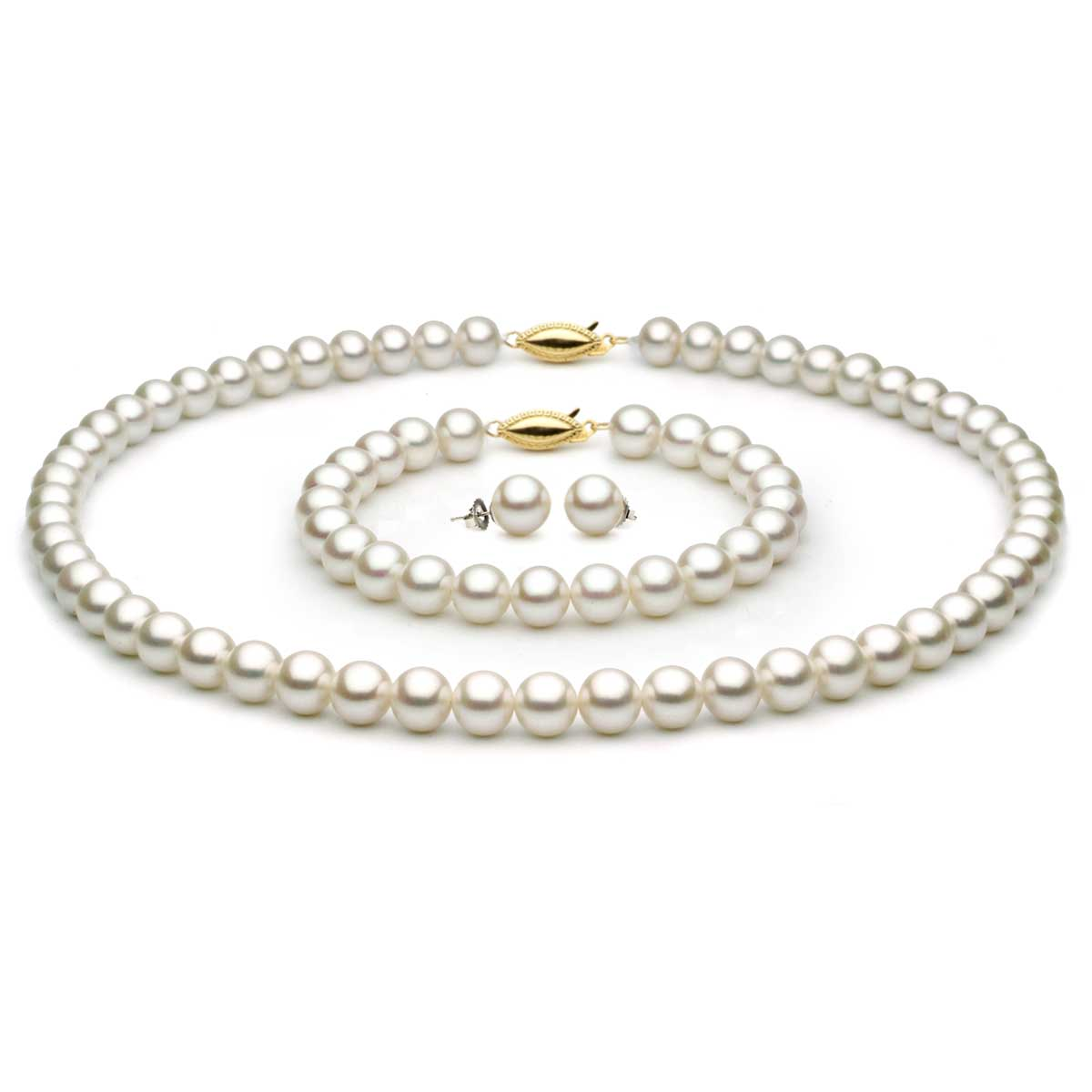 Complete set of AA Quality 7x7.5mm Japanese Akoya Pearls
