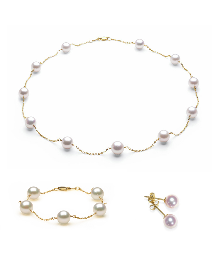 Complete set of AA Quality 7x7.5mm Japanese Akoya Tin Cup Pearls