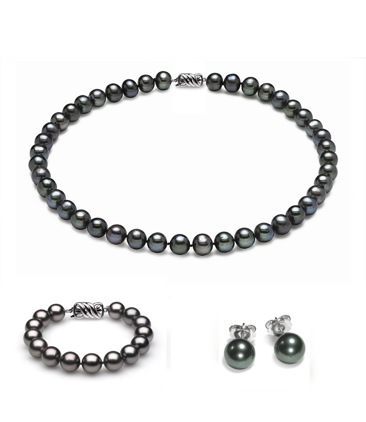 Complete set of AAA Quality  6.5-7.0 mm Black Freshwater Pearls
