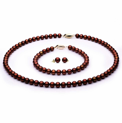 Complete set of AAA Quality  6.5-7.0 mm Mocha Freshwater Pearls