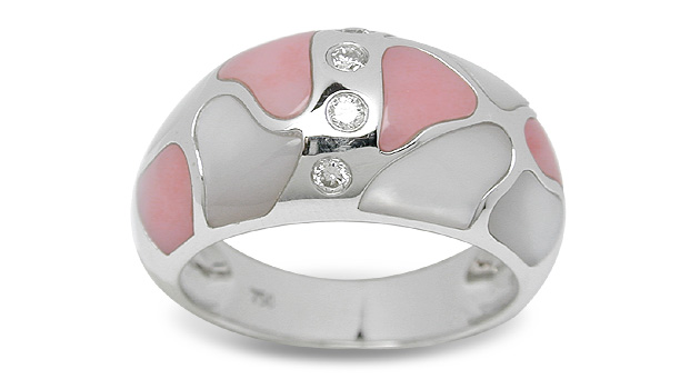 Cyrene a Mother of Pearl and Coral Ring