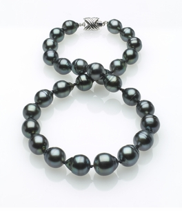 Dark Black Tahitian Baroque Pearl Necklace 10mm x 12mm TRUE AAA Quality