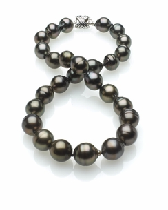 Dark Black Tahitian Baroque Pearl Necklace 11mm x 13mm TRUE AAA Quality