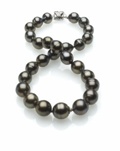 Dark Black Tahitian Baroque Pearl Necklace 11mm x 13mm TRUE AAA