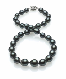 Dark Black Tahitian Baroque Pearl Necklace 9mm x 11mm TRUE AAA Quality