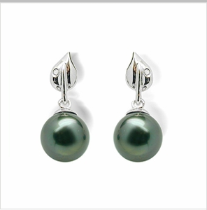 Dew Drop a Black Tahitian Cultured Pearl Earring
