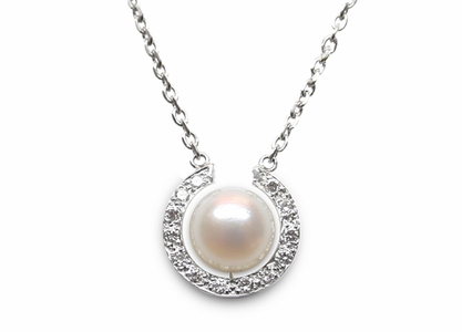 Diamond Horseshoe and Pearl Pendant