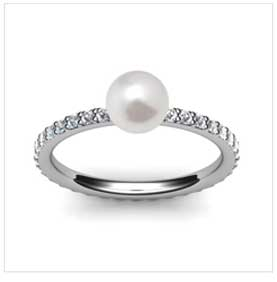Eternity Pearl and Pave Diamond 18K Ring .47ct