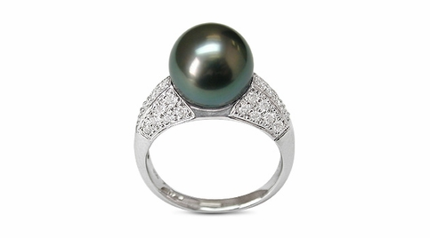 Eunice Black Tahitian South Sea Pearl Ring