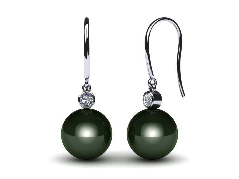 French Wire Diamond Drop Tahitian Pearl Earring
