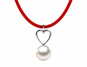Freshwater Leather Heart Pearl Necklace