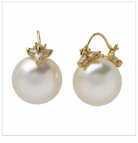 Gabrielle Sanchez Pearl & Diamond Flyer Earring 18K