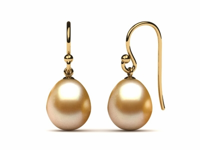 Golden Pearl French Wire Drop Pearl Earring