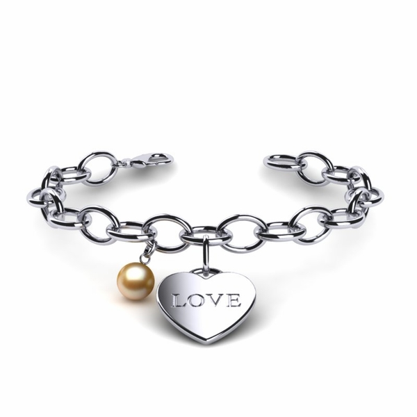 Golden Pearl Heart Love Bracelet