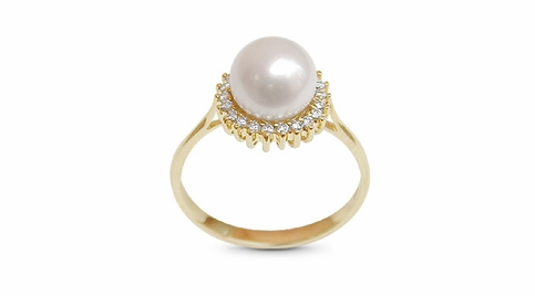Golden Sunflower Japanese Akoya Pearl Ring