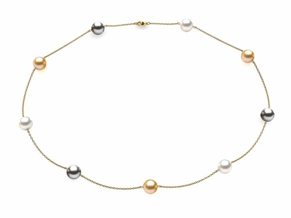 Golden White Grey Pearl Tin Cup Necklace