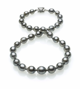 Grey Color Tahitian Baroque Pearl Necklace 8mm x10mm TRUE AAA Quality