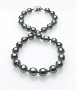 Grey Color Tahitian Baroque Pearl Necklace 9mm x 11mm AA Quality - 16 Inches