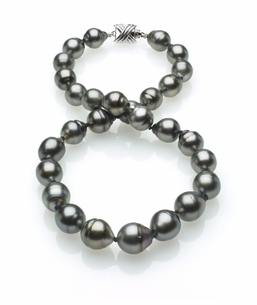 Grey Tahitian Baroque Pearl Necklace 10mm x 12mm TRUE AAA Quality