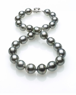 Grey Tahitian Baroque Pearl Necklace 11mm x 13mm TRUE AAA Quality