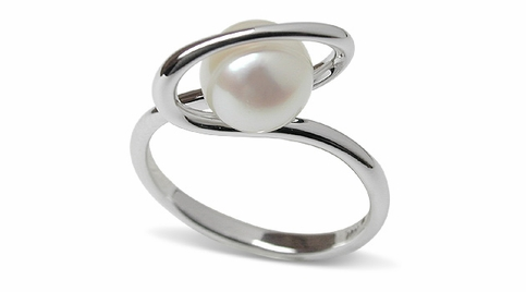 Halo a Japanese Akoya Cultured Pearl Ring