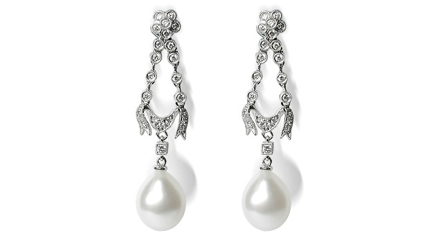 Heidi a Drop White South Sea Pearl Earrings