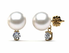 Japanese Akoya Cultured Pearl and Diamond Dangle Earring