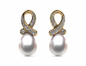 Japanese Akoya Cultured Pearl Ribbon Earring