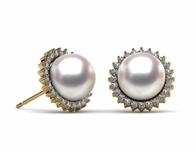 Japanese Akoya Cultured Pearl Sunflower Earring