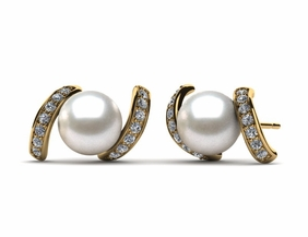 Japanese Akoya Cultured Pearl Swirl Earring