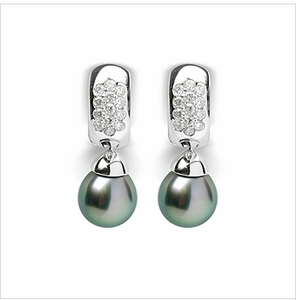 Justina a Black Tahitian Pearl Earrings