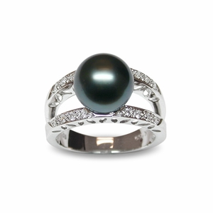 Leo a Black Tahitian South Sea Cultured Pearl Ring