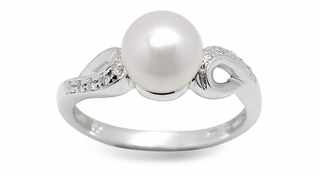 Levi a Japanese Akoya Cultured Pearl and Diamond Ring