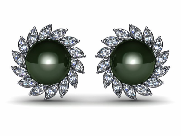 Marquise Pearl & Diamond Earring